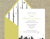 Miami Skyline set of 25 any occasion invitations with matching envelopes with return address printing