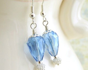 Something Blue Hot Air Balloon Earrings for your Wedding - Crystal blue beads with silver findings - Bridal jewely