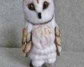 Barn Owl wool sculpture needle felted