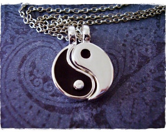 Black Yin and Yang Duo Necklace - Black Enameled Silver Plated Yin and Yang Charms on TWO Delicate Silver Plated Cable Chains or Charms Only