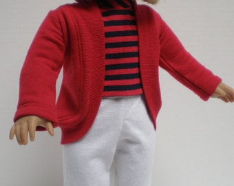 LONG RED SHRUG cardigan 18 inch doll clothes