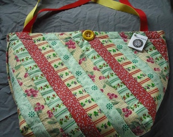 Market Shopping Tote Bag Purse Quilted Cotton Blend Fabric Double Strap Button Trim Velcro Closure Lined Grocery Recycle Shopping Reuse