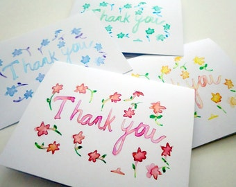 Spring Thank You Notes - Floral Watercolor Card Set - Colorful Art Thank You Cards, Set of 8