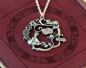 Alice in Wonderland and Cheshire Cat Necklace, Alice in Wonderland Jewellery