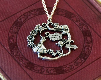 Alice in Wonderland and Cheshire Cat Necklace - Alice in Wonderland Jewellery