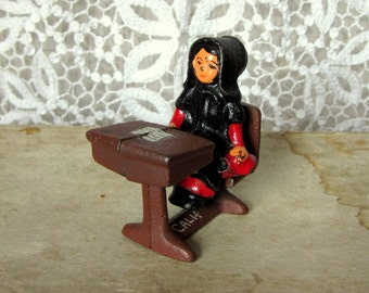 Vintage Amish Doll at Desk, Cast Iron and Hand Painted, Girl Doll Sitting at a School Desk, Souviner from CA