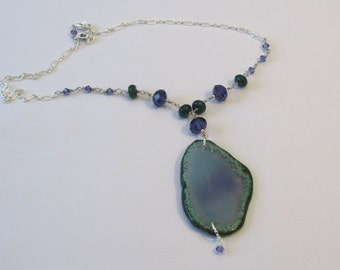 Green and Violet Agate and Crystal Necklace