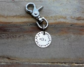 The S A L T Y  Dog  Key Fob - NICKEL  CUSTOM Longitude Latitude - Hand Stamped by KK designs for Sycamore Hill