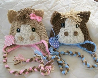Pony Hats for Twins Twin Pony Hats Crochet Hats for Twins Twin Animal Hats Newborn Twin Horse Hats Twin Photo Props CbbCreations