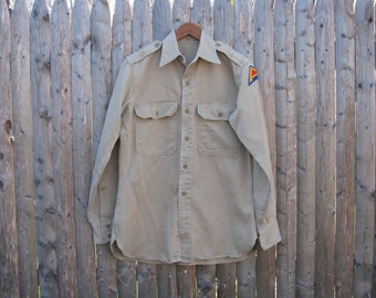Vintage Army Shirt With Patch Mens Small