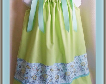 Pillowcase Dress sz 3, size 4, size 5, Handmade pillow case dress, soft green, turquoise blue lace & flower floral trim, green girls dress