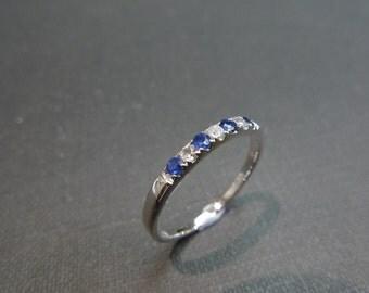 Sapphire Wedding Ring in 14K White Gold