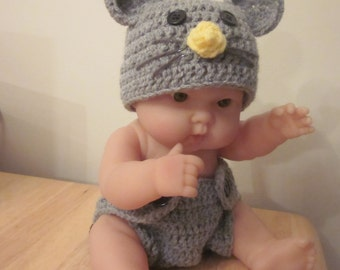 Mortimer Mouse Hat and Diaper Cover Set Newborn Photography Prop