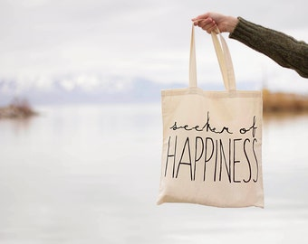 Seeker of Happiness - Canvas Tote Bag - Natural Handle
