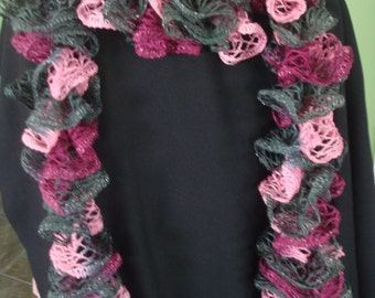 Sashay Scarf Pink Burgundy Gray hand-knitted  long