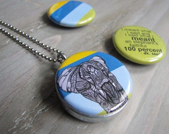 Elephant Locket Necklace - Recycled Jewelry - Dr Seuss Quote Necklace by MayhemHere and Polarity