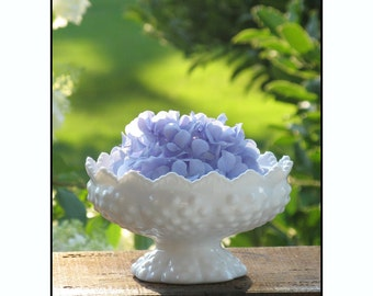 Fenton Milk Glass Hobnail Wedding Centerpiece / Candle Holder/ Milk Glass Bowl