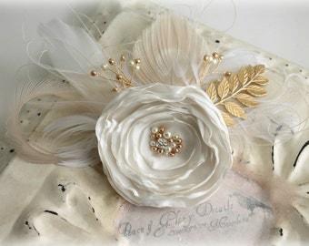 Bridal Ivory Gold Leaf Branch Fascinator - Bridal Sash Belt - Feather Peacock Fascinator - Wedding Gift Accessory