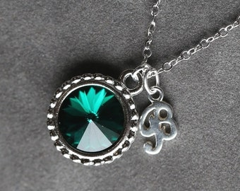 Emerald May Birthstone Necklace, Personalized Letter Jewelry, Silver Initial Necklace, New Mother's Necklace