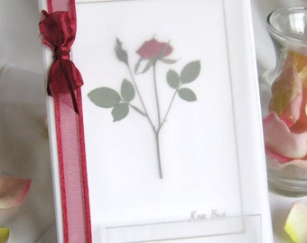 Dreamy Romantic Rose Card - pressed flower card for Valentine's Day, birthday, anniversary or blank inside for anyday