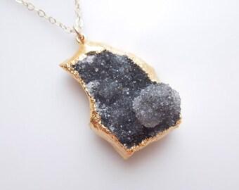 Amethyst Druzy Necklace - Brazilian Drusy - One Of A Kind Necklace