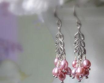 Lilac Pearl Earrings, Cluster Earrings, Dangle Earrings, Drop Earrings, Chandelier Earrings, Pearl Earring, Bridal Jewelry, Birthday, Summer