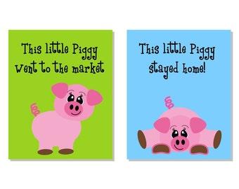 Children Art Print Two 8x10 This Little Piggy Farm Nursery Decor Kids Wall Art