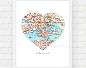 Stockholm Map Art, Heart Map Print, City Wall Art