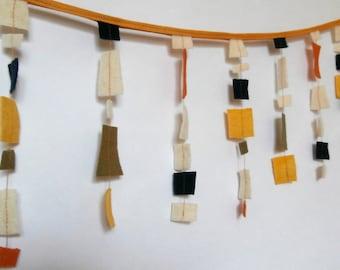Mod Retro Felted Wool Bunting Garland Art