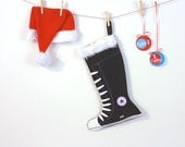 Christmas Stockings - holiday decor -black converse stocking
