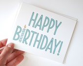 Birthday Card - Happy Birthday - Birthday Candle Card - Choose Your Color - Aqua, Green, Pink, Orange - RowHouse14