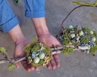 Spring woodland table decor, Fairies' nest, forest wedding, escort table, small nest of natural mosses, blue hydrangeas, green speckled eggs
