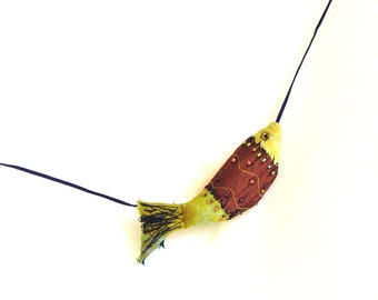 Yellow Brown Fish pendant, fish necklace, fiber art jewelry, wearable art, nautical jewelry, boho textile, modern craft jewelry