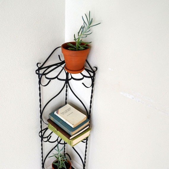 Reserved wrought iron plant stand mid century 3 tier corner - Corner shelf for plants ...