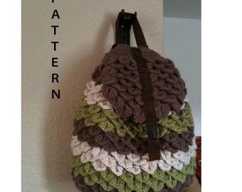 INSTANT DOWNLOAD Crochet Crocodile Backpack - Pattern