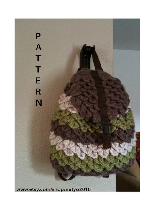 Crochet Backpack Bag : INSTANT DOWNLOAD Crochet Crocodile Backpack by NatalieSpot