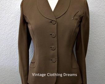 Vintage 1950s Jacket Coat Western 50s Brown Ladies Womans Fifties Bests Apparel