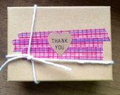 108 Thank You mini Heart Seals / Stickers -You Pick Color (kraft, red, pastel pink, white)