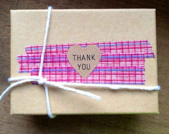 100 Thank You mini Heart Seals / Stickers -You Pick Color (kraft, red, pastel pink, white)