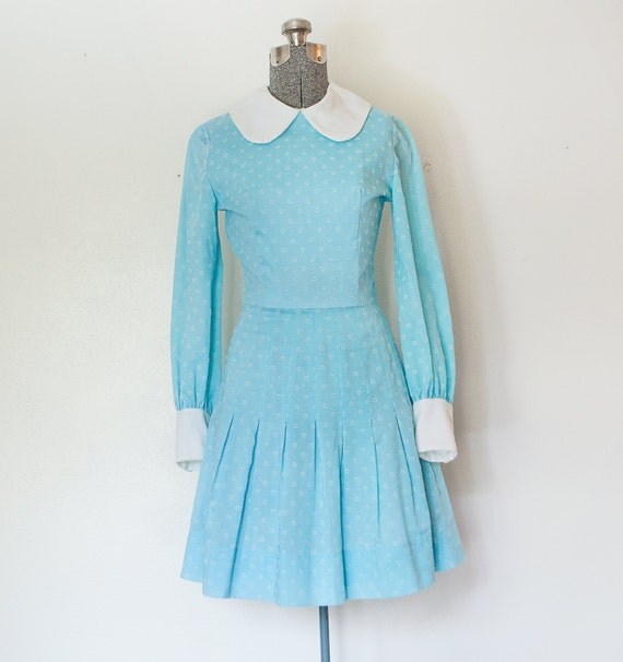 Vintage 1960's Baby Doll Day Dress - Blue Heart Print - Pleated Skirt - Extra Small