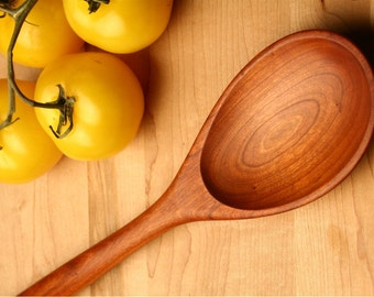 Big manly wooden spoon carved from Cherry wood