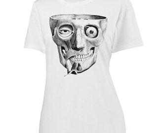 Womens Screen Printed Anatomy Skull Shirt
