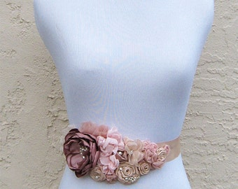 Vintage Rose blush, Champagne, Pink Fabric Flowers Sash - Swarovski Crystal and Pearls Embellished Belt is good for a Bride, Maid of Honor