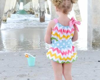 Colorful Bubble Sunsuit Romper with Dottie Sash