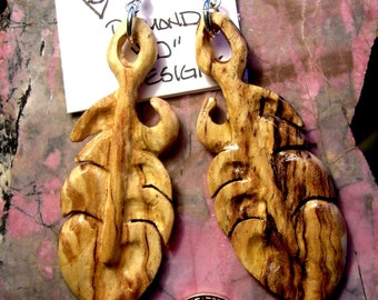 Spaulted Maple Feather Earrings