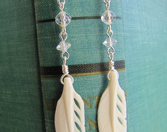 Feather Earrings- Reclaimed Crystal and hand carved Bone Feather dangle Earrings- Sterling Silver-  One of a Kind-