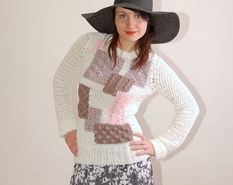 Crochet pattern PDF - Yoko Sweater - sizes XS to L - crochet sweater pattern instant download