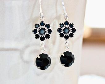 Black Earrings Black Crystal Drop Earrings  Ebony Black Crystal Rhinestone Dangle Earrings Bridemaid Gift Idea Prom Wedding Christmas Gift