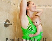 Beachfront Baby Wrap Carrier- water babywearing at the beach, pool, water park or in the shower- KEY LIME