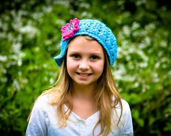 Crochet Pattern for Lily Newsgirl Beanie Hat - 5 sizes, baby to adult - Welcome to sell finished items
